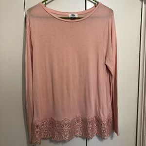 Pink Long Sleeve Shirt with Lace Detail